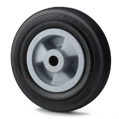 wiel, Ø 160 x 40mm, zwarte rubberband, 180KG