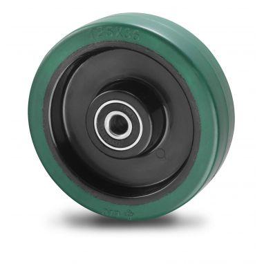wiel, Ø 100 x 36mm, opgevulkaniseerde elastische rubber band, 150KG