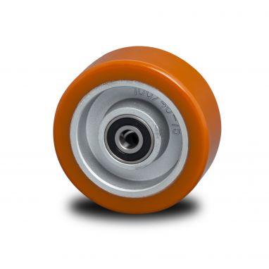 wiel, Ø 125 x 38mm, opgevulkaniseerde polyurethaanband, 300KG