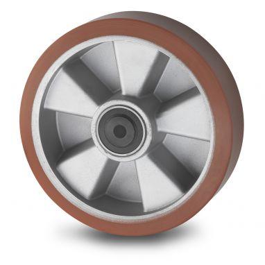 wiel, Ø 250 x 50mm, opgevulkaniseerde polyurethaanband, 1000KG
