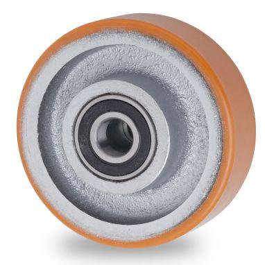 wiel, Ø 125 x 40mm, opgevulkaniseerde polyurethaanband, 400KG