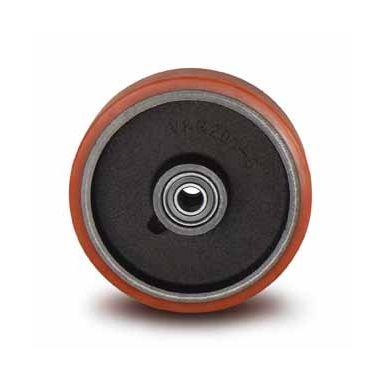 wiel, Ø 160 x 50mm, opgevulkaniseerde polyurethaanband, 800KG
