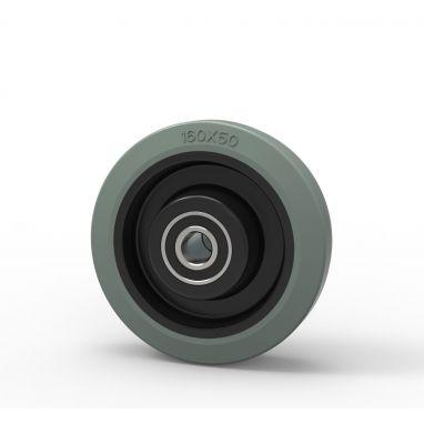 Wiel, Ø 160mm, gevulkaniseerd grijs elastisch rubber band, 350KG