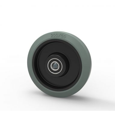 Wiel, Ø 200mm, gevulkaniseerd grijs elastisch rubber band 400KG