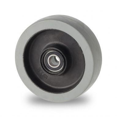 wiel, Ø 125 x 36mm, niet-strepende, elastische rubberband, 200KG