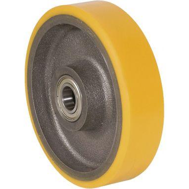 wiel, Ø 100 x 50mm, opgevulkaniseerde polyurethaanband, 400KG