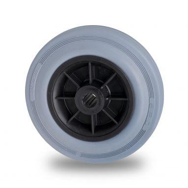 wiel, Ø 125 x 37mm, grijze rubberband, 130KG