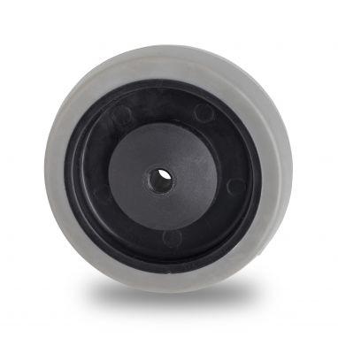 wiel, Ø 125mm, grijze niet-strepende thermoplastische rubberband, 160KG