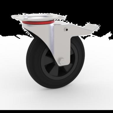 zwenkwiel met rem, Ø 100 x 27mm, zwarte rubberband, 80KG