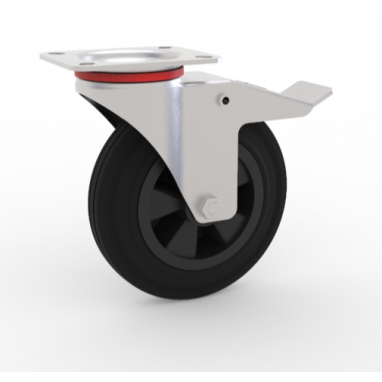 zwenkwiel met rem, Ø 125 x 37,5mm, zwarte rubberband, 100KG