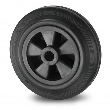 wiel, Ø 80 x 25mm, zwarte rubberband, 65KG