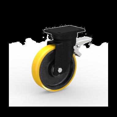zwenkwiel met rem, Ø 100 x 30mm, opgevulkaniseerde polyurethaanband, 250KG