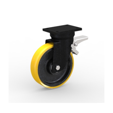 zwenkwiel met rem, Ø 200 x 40mm, opgevulkaniseerde polyurethaanband, 800KG