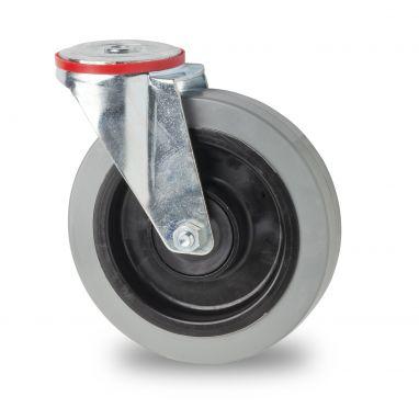 zwenkwiel, Ø 125 x 37mm, elastische rubberband, 200KG