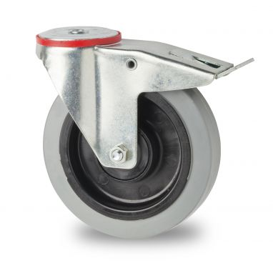 swivel castor with brake, Ø 160mm, elastic-tyre, 300KG