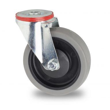 zwenkwiel, Ø 100mm, grijze niet-strepende thermoplastische rubberband, 115KG