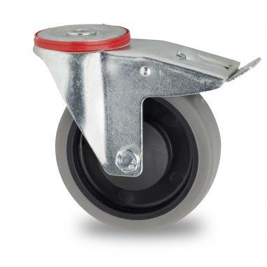 zwenkwiel met rem, Ø 125mm, grijze niet-strepende thermoplastische rubberband, 160KG