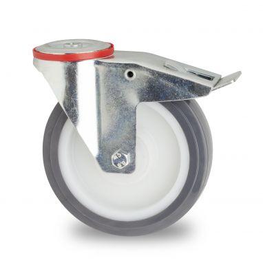 zwenkwiel met rem, Ø 200mm, gespoten polyurethaan, 300KG