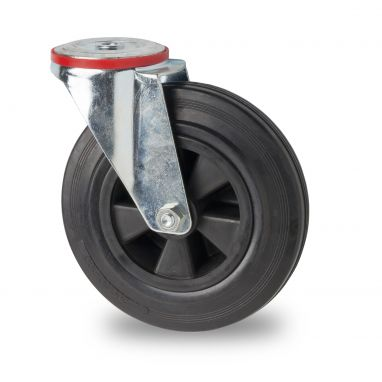 zwenkwiel, Ø 160 x 39mm, zwarte rubberband, 180KG