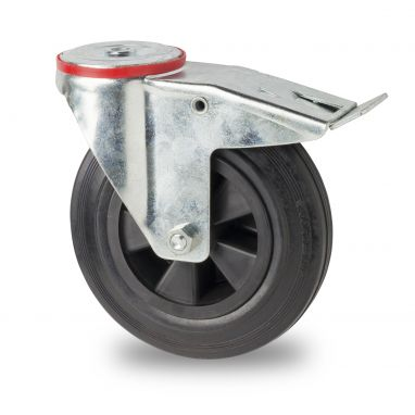 zwenkwiel met rem, Ø 160 x 39mm, zwarte rubberband, 180KG