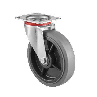 zwenkwiel, Ø 200, grijze niet-strepende thermoplastische rubberband, 250KG