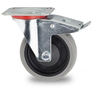 zwenkwiel met rem, Ø 100mm, grijze niet-strepende thermoplastische rubberband, 115KG