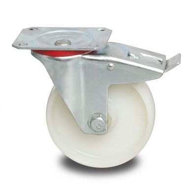 zwenkwiel met rem, Ø 125 x 40mm, geheel polyamide (PA6) wiel, 250KG
