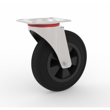 zwenkwiel, Ø 100 x 27mm, zwarte rubberband, 80KG