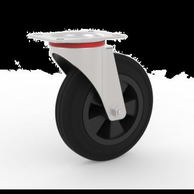 zwenkwiel, Ø 125 x 37,5mm, zwarte rubberband, 100KG