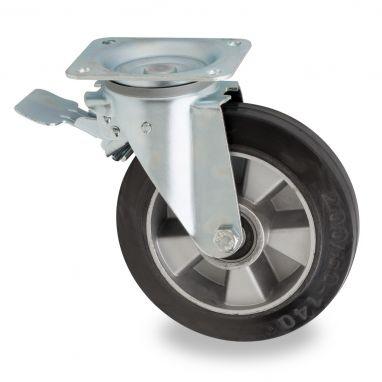 zwenkwiel met rem, voor afvalbak, Ø 200mm, zwarte elastische rubberband, 400KG