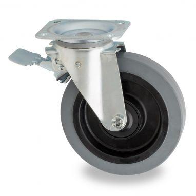 zwenkwiel met rem voor afvalbak, Ø 200mm, grijze elastische rubberband, 400KG