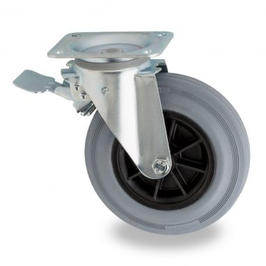 zwenkwiel met rem voor afvalbak, Ø 200mm, grijze standaard rubberband, 230KG