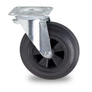 zwenkwiel voor afvalbak, Ø 200mm, zwarte rubberband, 200KG