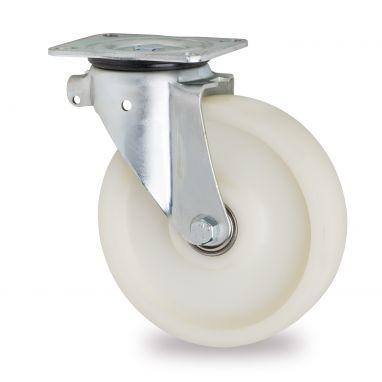 zwenkwiel, Ø 200mm, geheel polyamide (PA6) wiel, 1000KG
