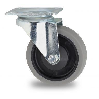 zwenkwiel, Ø 125mm, grijze niet-strepende thermoplastische rubberband, 160KG