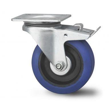 zwenkwiel met rem, Ø 125 x 38mm, elastische rubberband, 180KG