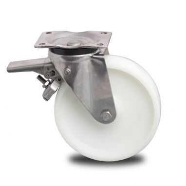 zwenkwiel met rem, Ø 150mm, geheel polyamide (PA6) wiel, 580KG