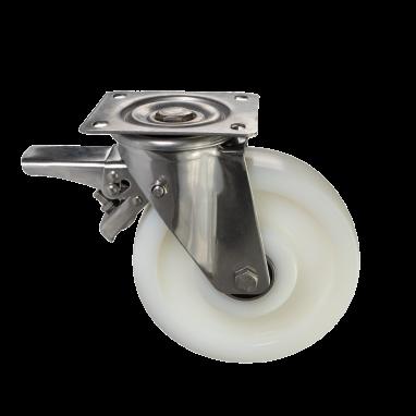 zwenkwiel met rem, Ø 200mm, geheel polyamide (PA6) wiel, 700KG
