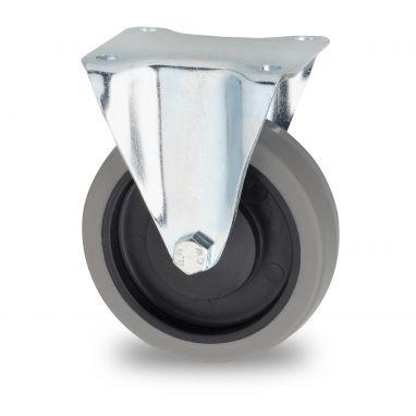 bokwiel, Ø 125mm, grijze niet-strepende thermoplastische rubberband, 160KG