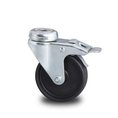 zwenkwiel met rem, Ø 100 x 24mm, geheel Polypropyleen wiel, 80KG