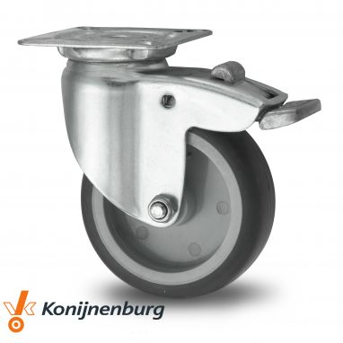 zwenkwiel met rem, Ø 100 x 25mm, grijze niet-strepende thermoplastische rubberband, 80KG