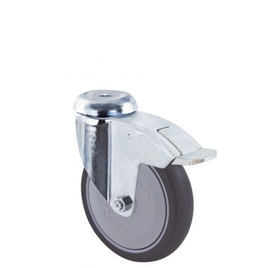 zwenkwiel met rem, Ø 125 x 32mm, grijze niet-strepende thermoplastische rubberband, 100KG