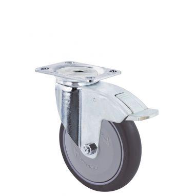 zwenkwiel met rem, Ø 100 x 30mm, grijze niet-strepende thermoplastische rubberband, 100KG