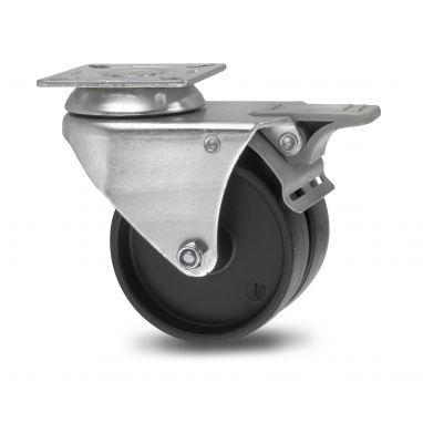zwenkwiel met rem, Ø 75 x 2x24mm, geheel Polypropyleen wiel, 100KG