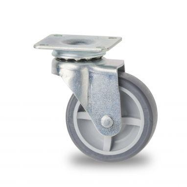 zwenkwiel, Ø 30mm, Thermoplastisch rubber (TPR), grijs niet-strepend, glijlager, 20KG