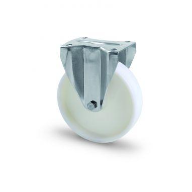 RVS AISI 316 bokwiel, plaatbevestiging, vol nylon wiel, glijdlager, Wiel-Ø 100mm, 150KG