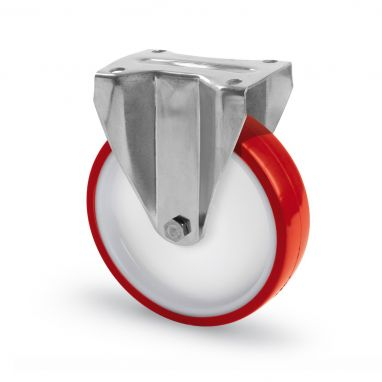 RVS AISI 316 bokwiel, polyurethaan wiel, glijdlager, Wiel-Ø 80mm, 150KG