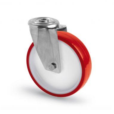 RVS AISI 316 zwenkwiel, boutgat bevestiging, polyurethaan wiel, glijdlager, Wiel-Ø 80mm, 150KG