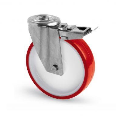 RVS AISI 316 zwenkwiel met rem, boutgat bevestiging, polyurethaan wiel, glijdlager, Wiel-Ø 100mm, 150KG