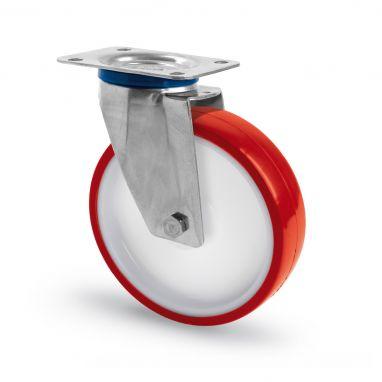 RVS AISI 316 zwenkwiel, plaatbevestiging, polyurethaan wiel, glijdlager, Wiel-Ø 100mm, 150KG